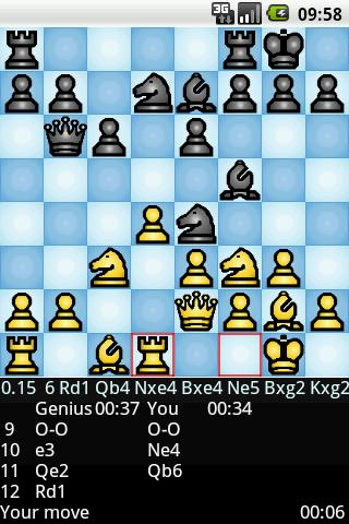 [Chess Genius on Android screenshot]